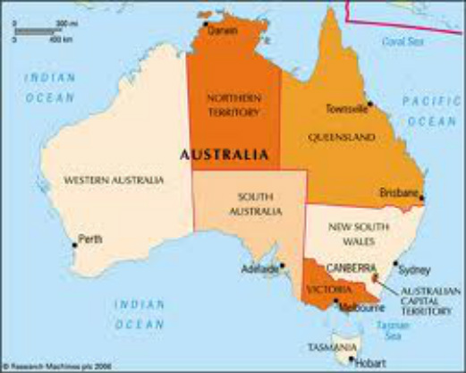 Map Of Australia And Capital Cities.Map Of Australia With States Territories And Capital Cities